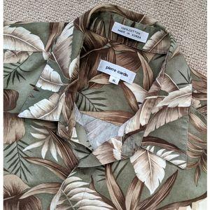 Vintage Men's Tropical Print Button Down Shirt XL